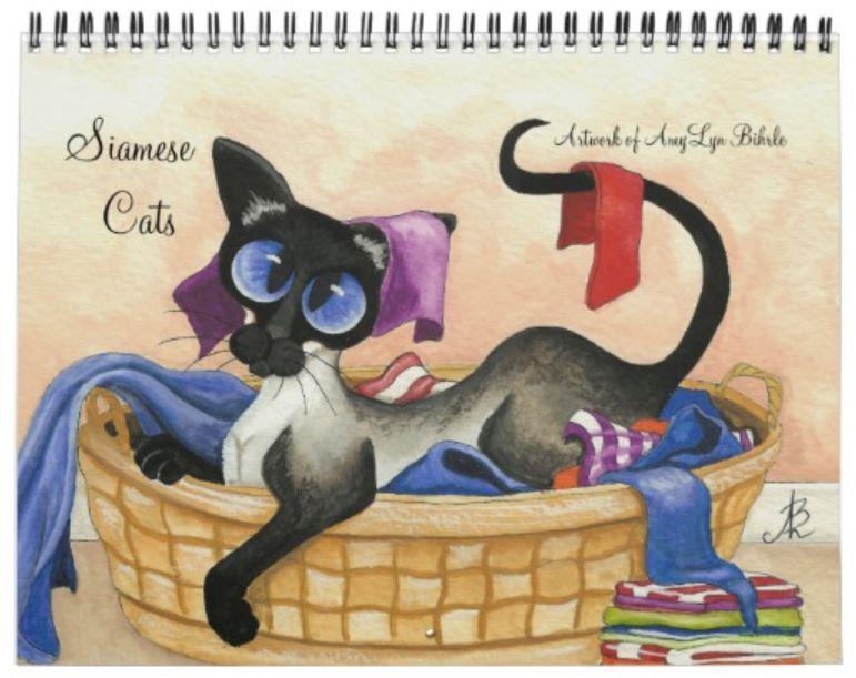 AmyLyn Bihrle Siamese cat calendar cover 2019
