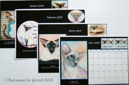 Suzanne Le Good Siamese cat calendar 2019, interior